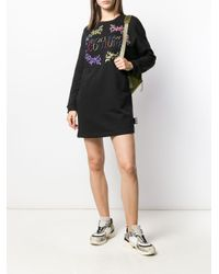 Vestito modello felpa con stampa di Versace Jeans in Black