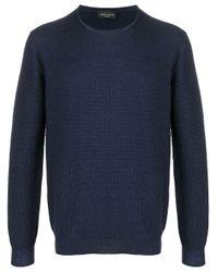 Roberto Collina Blue Textured Knit Round Neck Jumper for men
