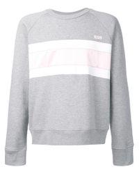 AMI Gray Striped Sweatshirt for men