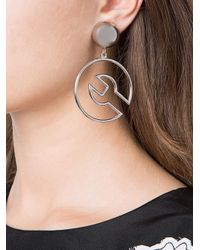 Moschino - Metallic Wrench Outline Clip On Earrings - Lyst