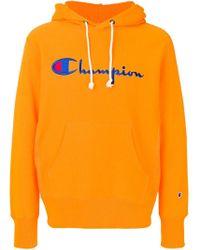 メンズ Champion ロゴエンブロイダリー パーカー Orange