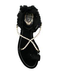 Rene Caovilla - Black Pearl Embellished Sandals - Lyst