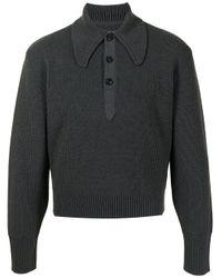 メンズ Maison Margiela リブニット ポロシャツ Gray