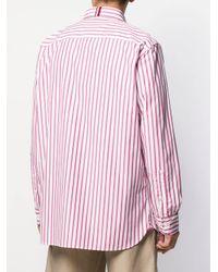 30534244da Lyst - Tommy Hilfiger Logo Print Striped Shirt in Pink for Men
