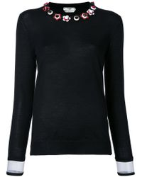 Fendi Black Floral Embellished Sweater