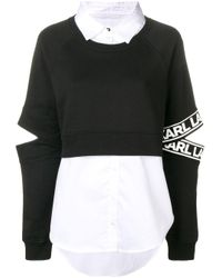 Karl Lagerfeld シャツレイヤー スウェットシャツ Black