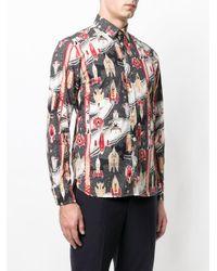 Maison Kitsuné Gray Rocket Print Shirt for men