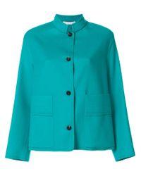Fabiana Filippi Blue High Standing Collar Jacket