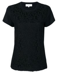 Carven - Black Lace Overlay T-shirt - Lyst