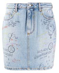MSGM Blue Doodle Denim Mini Skirt