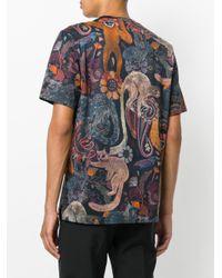Paul Smith Blue Animal Print T-shirt for men