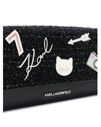 Bolso de hombro con placa del logo Karl Lagerfeld de color Black