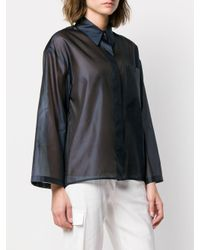Roberto Collina Blue Semi-transparentes Oversized-Hemd