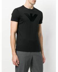 Emporio Armani - Black Textured Logo T-shirt for Men - Lyst