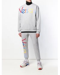 Versace Jogginghose mit Logo-Stickerei in Gray für Herren
