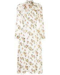 Adam Lippes White Kleid mit Blumenmuster