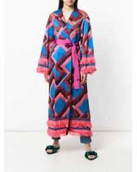 F.R.S For Restless Sleepers Pink Chevron Print Robe Coat