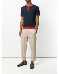 Etro Blue Colour Block Polo Shirt for men