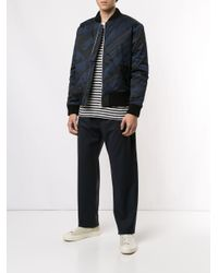 Band of Outsiders Blue Spaceship Striped Bomber Jacket for men