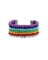 Venessa Arizaga Multicolor Silver Plated Rainbow Thread Bracelet