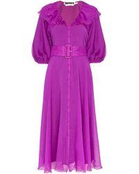 Robe mi-longue à volants ROTATE BIRGER CHRISTENSEN en coloris Purple