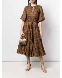 Zimmermann Metallic Floral Flared Dress