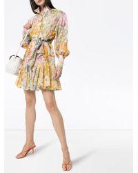 Zimmermann フローラル ベルテッド ドレス Pink