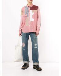 メンズ Junya Watanabe パッチワーク シャツ Red