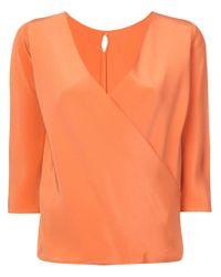 Peter Cohen Orange Wrap Front Blouse