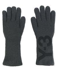 Gants à logo intarsia Y-3 pour homme en coloris Gray