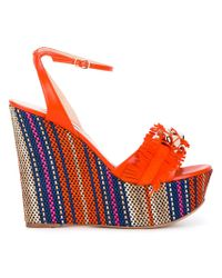 Casadei Orange Fringe Strap Wedge Sandals