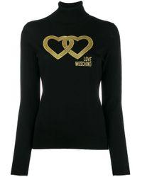 Maglione con ricamo di Love Moschino in Black