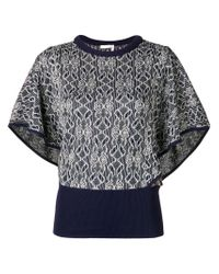 Chloé Blue Knitted Batwing Sleeve Top