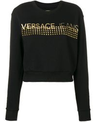 Versace Jeans Black Studded Logo Longsleeve Top