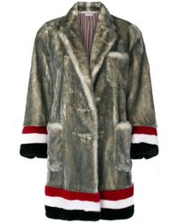 Thom Browne Gray Single Breasted Sack Overcoat With Intarsia Red, White And Blue Stripe In Dyed Long Hair Mink Fur