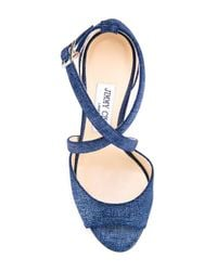 Jimmy Choo Blue Carrie 100 Denim Sandals