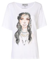 Wildfox White Illustrated Graphic Print T-shirt