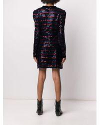 Philosophy Di Lorenzo Serafini Blue Striped-sequin V-neck Dress