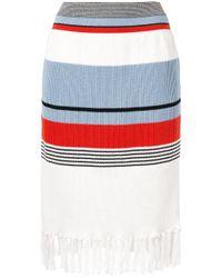 Coohem White Striped Knit Skirt