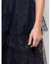 Vestido de fiesta palabra de honor con capas de volante Marchesa notte de color Black