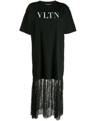 Valentino レースヘム Tシャツドレス Black