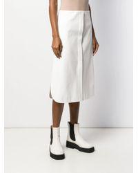 Jupe droite mi-longue Jil Sander en coloris White