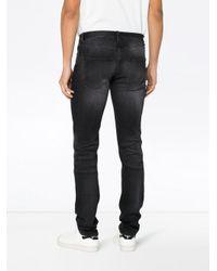 Джинсы Скинни С Потертой Отделкой Saint Laurent для него, цвет: Black