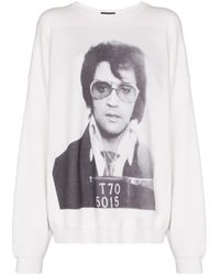 R13 White Elvis Print Oversized Sweatshirt