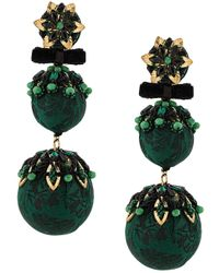Pendientes con pompón Ranjana Khan de color Green