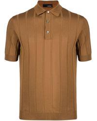 メンズ Lardini ストライプ ポロシャツ Brown