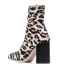Bottines à motif léopard Miu Miu en coloris Black