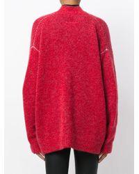 MM6 by Maison Martin Margiela - Red Oversized Cardigan - Lyst