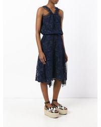 N°21 Blue Lace And Net Sleeveless Dress