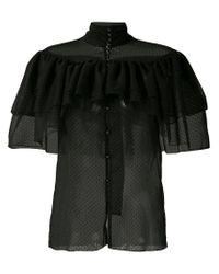 Rodarte Black Frilled Sheer Shirt